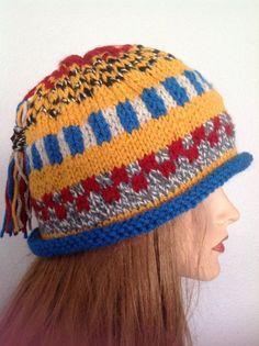 Beanie Slouch Hat Hand Knit FairIsle Big Tassel by HANDKNITS2LOVE