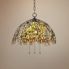 "Allwood 20"" Wide Tiffany Style Art Glass Pendant Light"