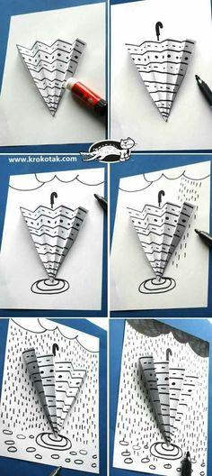 parapluie et graphisme - Art For Kids, Crafts For Kids, Arts And Crafts, Paper Crafts, Children Crafts, Kid Art, Spring Art, Spring Crafts, Classe D'art
