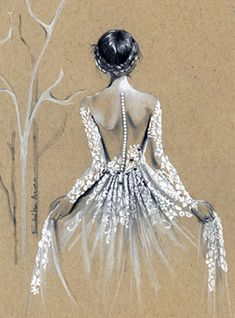 Custom Fashion Illustration- Custom Bridal Sketch-Wedding Gift-Custom Drawing-Bride-Bridal Illustration-Custom Wedding Dress Illustration - The back detail of the dress is enhanced here. I work from your photographs, and turn them into a v - Wedding Dress Illustrations, Wedding Dress Sketches, Wedding Drawing, Wedding Illustration, Watercolor Wedding, Fashion Illustration Sketches, Fashion Sketches, Drawing Sketches, Drawing Tips