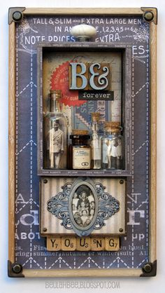 IDEA: use corner pieces and border papers to frame a page Found Object Art, Found Art, Altered Canvas, Altered Art, Cigar Box Projects, Collages, Halloween Shadow Box, Vintage Cigar Box, Shadow Box Art