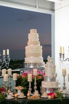 Outdoor wedding sweets table with off white wedding cake   Bombon Cake Gallery   Andrews Garden   Wedding Guide Chicago