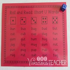 Short Vowels Roll and Read games includes three game boards for each vowel. The first game board is for practicing short vowel CVC words. The second game board helps students practice short vowel nonsense words. The third game board includes a mixture of short vowel words and nonsense words. That means there are 15 games boards in all! All you need to play is a die. Grades K-2 ~ The Vivacious Teacher