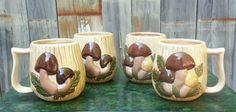 VTG 70s SET of 4 MUSHROOM MUGS Coffee Cups ~ Hand Painted Ceramic Hippie Shroom