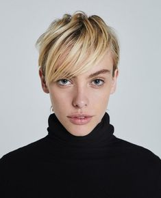 Blonde Hair Color Ideas Discover The Chels Turtleneck in True Black at AG Jeans Official Store Black Girl Short Hairstyles, Short Hairstyles For Women, Short Hair Cuts, Short Hair Styles, Pixie Cuts, Short Pixie, Curly Hairstyles, Androgynous Haircut, Covering Gray Hair