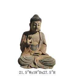 """Chinese Antique Wood Hand Carving Sitting Buddha Statue WK2465    Look at this peaceful Chinese antique sitting Buddha which is made of solid elm wood.  This statue is different with the reproduction you see at the market.  You can see the Buddha face and proportion which are perfect.  It should be gorgeous to put at your entrance hall way or living room.  Outside Dimensions: 21.5""""Wx18""""Dx27.5""""H   Origin: Northern China   Material: Solid Elm Wood"""