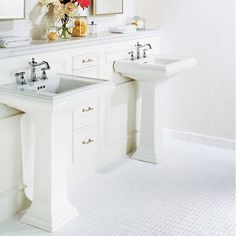 great use of space for a pedestal sink to have the back counter and drawers for storage...good placement! great idea!