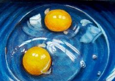 """Eggs In Blue Bowl"": Color Pencil Art by Joyce Geleynse"