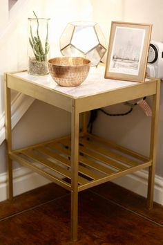 IKEA Bedside Table Hack Nesna - gold and marble