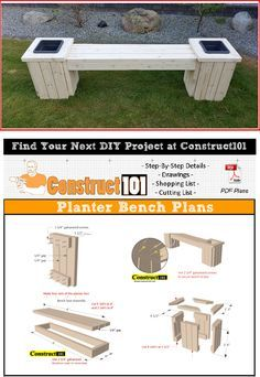 Planter Bench Plans Built With 2x4 S Free Pdf In 2020 Planter Bench Diy Wood Planters Diy Bench Outdoor
