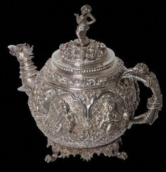 Burmese Silver Tea Pot - Michael Backman Ltd Get A Tattoo, Back Tattoo, Tattoo Shop, Teapot Tattoo, Sketchy Tattoo, Grain Of Salt, Silver Teapot, When You Are Happy, Sand And Water