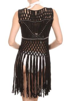 LL- Womens Hand Knotted Macrame Boho Vest, Silver Beads, Long Fringe(Black) at Amazon Women's Clothing store: