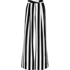 Michelle Mason Striped silk crepe de chine wide-leg pants (€395) ❤ liked on Polyvore featuring pants, bottoms, summer, trousers, white, silk trousers, silk pants, wide-leg trousers, striped pants and michelle mason