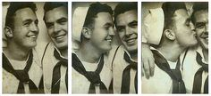 1940s World War 2 queer gay kiss men in photobooth military photo black and white sailors by Christian Montone, via Flickr