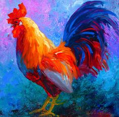 Rooster Paintings Large | Rooster Bob Painting by Marion Rose - Rooster Bob Fine Art Prints and ...