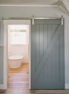 Barn Door Painted Awesome Interior Sliding Doors Ideas For Every Home . My New Home Office : Sliding Barn Door And More! Custom Made Sliding Barn Doors Shenandoah Furniture Gallery. Home Design Ideas Bathroom Barn Door, Basement Bathroom, Bathroom Closet, Master Bathrooms, Small Bathrooms, Barn Door Designs, Door Paint Colors, House Of Turquoise, The Doors