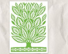 """Fresh spring green tree - silhouette art print - unique graphic pattern in bright, warm colour based on old Polish craft of paper cutting """"wycinanki""""."""