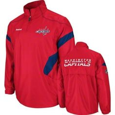 Washington Capitals Red Center Ice 1/4 Zip Hot Jacket (XX-Large) by Reebok. $44.99. Stay warm and comfortable by wearing what the players and coaches wear with this 2011 Center Ice 1/4 Zip Hot Jacket from Reebok. This wind resistant jacket is perfect for the changing seasons and features tackle twill and embroidered team decoration on chest and center back, Reebok wordmark logo and NHL shield on right arm, 1/4 zip collar, front pockets for comfortable warmth, and contrast co...