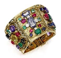 A Gold, Multi-gem and Diamond Bracelet, by Lucien Goubet, circa 1935 Bella Donna Ruby And Diamond Necklace, Diamond Jewelry, Antique Jewelry, Vintage Jewelry, 1920s, Bangle Bracelets, Bangles, Diamond Cuts, Fine Jewelry