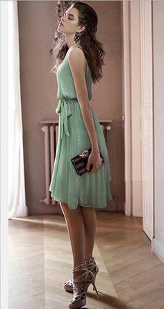 Soft Green Chiffon Dress