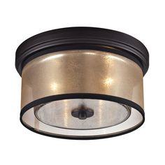 Elk Lighting 57025/2 Diffusion 2 Light Flush Mount Ceiling Fixture Oil Rubbed Bronze Indoor Lighting Ceiling Fixtures Flush Mount