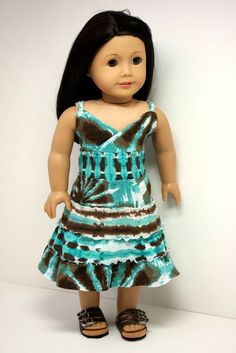 Aqua and brown tie dye maxi Dress by sewurbandesigns on Etsy. Made with the LJC Maxi Dress pattern. Find it here http://www.pixiefaire.com/products/maxi-dress-18-doll-clothes. #pixiefaire #libertyjane #maxidress