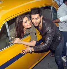 Varun 'Humpty' Dhawan and Alia 'Kavya' Bhatt sat on, not in, a big yellow Kolkata Ambassador taxi while promoting Humpty Sharma Ki Dulhaniya.