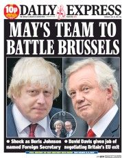 Daily Express (UK) Newspaper Front Page for 14 July 2016