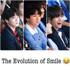 JK x Suga x Taehyung Bts Billboard, Evolution, Taehyung, Smile, Smiling Faces, Laughing