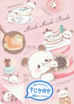 "Kamio ""Mochi Mochi Panda"" Memo w/ Pencil Board Kawaii Doodles, Kawaii Chibi, Cute Chibi, Kawaii Cute, Cute Food Drawings, Cute Animal Drawings Kawaii, Cute Panda Wallpaper, Kawaii Wallpaper, Panda Wallpapers"
