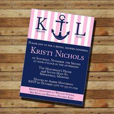 Nautical, Anchor Bridal Shower Invitation (digital file) Navy Blue & Pink