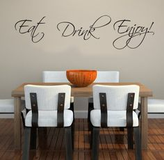 Eat Drink EnjoyThis comes with a transfer sheet for a perfect finish on your wall.This removable Wall Decal looks perfect in the kitchen or dining room.I have a list of instructions on my websiteThis decal is made up of a high Quality vinyl. It will not mark your walls. Please refer to FAQ's on my website for more info.This decal measures approx.:90cm wide. The measurements differ depending on how you would like to lay this out on the wall. Each word is ind...