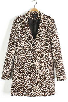 Leopard Turn-Down Collar Blazer OASAP.com