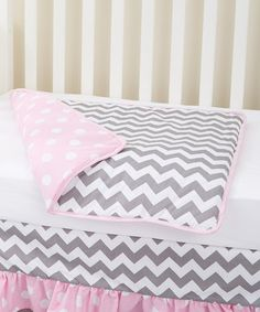 Another great find on #zulily! Pink & Gray Chevron Reversible Coverlet by Rockingham Road #zulilyfinds