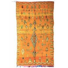 Stunning Saffron and Mint Moroccan Rug