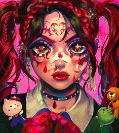 Art Drawings Sketches, Cute Drawings, Pretty Art, Cute Art, Pastel Goth Art, Cartoon Art Styles, Cybergoth, Kawaii Art, Aesthetic Art