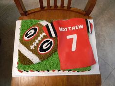 "Georgia Bulldog Football Cake This is my first ""real"" cake I have made for someone. It was my for my nephew's birthday. Georgia Bulldogs Cake, Georgia Bulldogs Football, 7th Birthday, Birthday Cakes, Football Birthday Cake, Birthday Ideas, Bulldog Cake, Lemon And Coconut Cake, Rhubarb Cake"
