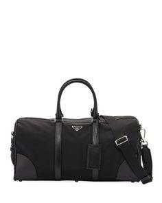 PRADA Men'S Nylon & Saffiano Duffel Bag, Black (Nero). #prada #bags #tote #leather #lining #travel bags #shoulder bags #hand bags #nylon #weekend #