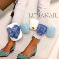 Denim.Aqua.White.Nails.                                                       …