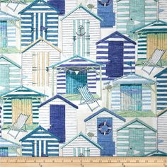 Richloom Indoor/Outdoor Beach Huts Blue from @fabricdotcom  From Richloom Fabrics, this great indoor/outdoor fabric is mildew, stain and water resistant. It is perfect for outdoor settings and indoors in sunny rooms. It is fade resistant up to 500 hours of direct sun exposure. Create decorative toss pillows, chair pads, slipcovers, place mats, tote bags. Colors include tan, teal blue, navy, seafoam green and white.