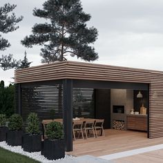 Cooking outdoors at Outdoor Kitchen brings a different sensation. We can use our patio / backyard space to build outdoor kitchen. Outdoor kitchen u. Outdoor Kitchen Design, Patio Design, Garden Design, House Design, Grill Design, Terrace Design, Design Room, Design Hotel, Interior Design