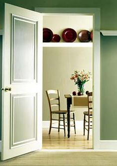 Use paint effects and trim to add interest to interior doors