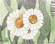 Daisy Flower Waves Watercolour Zentangle