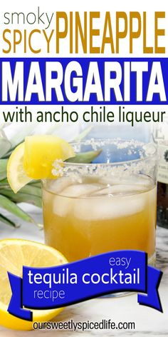 Smoky Spicy Pineapple Margarita - Treat yourself to an easy cocktail recipe with this spicy pineapple margarita with ancho chile liqueur. One of the best mixed drinks! An easy spicy margarita recipe on the rocks, this spicy margarita pineapple is a simple and easy cocktail to make at home. The perfect mixed drink to mix up and sip during hot summer days, or a great cocktail to make a pitcher of for your next party. Spicy margarita recipes are sure to be a hit! #margarita #cocktail Cocktails To Make At Home, Easy Cocktails, Summer Cocktails, Cocktail Recipes, Pitcher Margarita Recipe, Spicy Margarita Recipe, Margarita Recipes, Fruity Alcohol Drinks, Drinks Alcohol Recipes