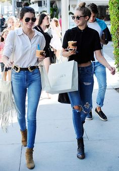 Some shirts just beg for a top knot, like this classic black button-down that Gigi Hadid is rocking.
