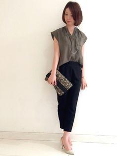 ジェイアール京都伊勢丹ロペ|asacoさんのシャツ/ブラウス「ミリタリーフレンチスリーブシャツ」(ROPE'|ロペ)を使ったコーディネートです。