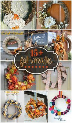 15+ Fall Wreaths - a collection of super cute fall wreaths sure to inspire!! { lilluna.com }