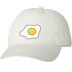 Wearing this hat will prevent your brains from getting scrambled in the heat - and you'll look good too! Hat is white with an adjustable strap. Ships from US. Korean Fashionista, Titanium White, White Caps, Birthday List, Caps Hats, Baseball Hats, Eggs, My Style, Polyvore