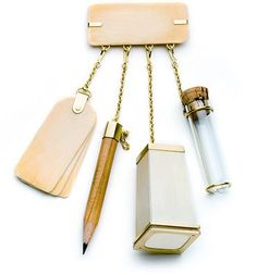 A CHATELAINE FOR COLLECTING, RECORDING, AND REMEMBERING: FOR SOPHIE CALLE. (2005) copyright melanie bilenker jewelry