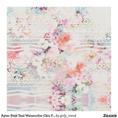 Aztec Pink Teal Watercolor Chic Floral Pattern Fabric